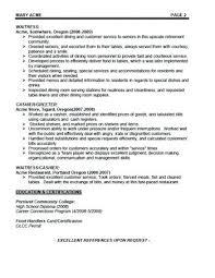 Resume Examples Waitress Sample Restaurant Hostess