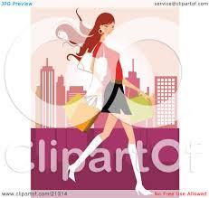 clipart illustration of a pretty caucasian woman in a mini skirt