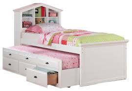 kids twin storage captain bed with bookcase headboard trundle