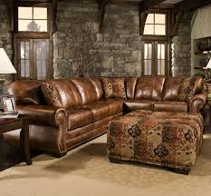 Rustic Sublime Living Room With Leather Sectional Sofa Pivot Factor Truffle Custom Set