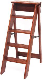 Solid Wood Folding Household 5 Step Ladder Multifunction ...