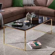 wohnling couchtisch riva 120x45x60 cm metall holz sofatisch schwarz gold design wohnzimmertisch rechteckig stubentisch mit metallgestell