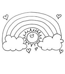 Free Online Rainbpw Sun Colouring Page