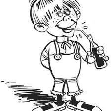 Kid Drink A Bottle Of Coke In Lucky Luke Coloring Page