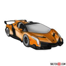 How To Draw Lamborghini Veneno Step By Step Drawing Tutorials