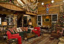 Primitive Living Rooms Decor by Rustic Christmas Decorations At Amanda Brooks U0027s Mountain Cabin Vogue