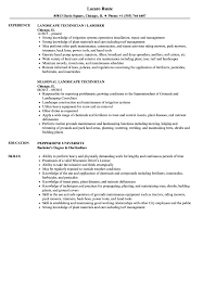 Download Landscape Technician Resume Sample As Image File