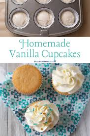 A Trio Of Homemade Vanilla Cupcakes One Plain Covered With Frosting And