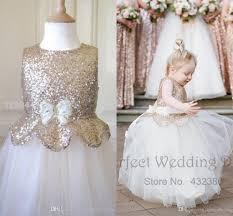 cute metallic flower dresses 2016 new kids rose gold sequin