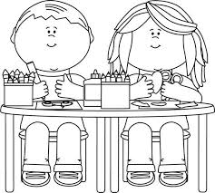 Child Working In Class Clipart Illustration By Vector Tradition Stock Black And White