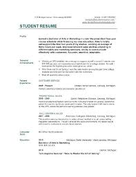 Sample Resumes College Students Student Internship