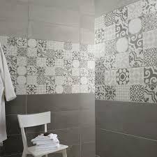 carrelage ceramique leroy merlin faïence mur mix blanc gris décor tadelak l 25 x l 75 cm