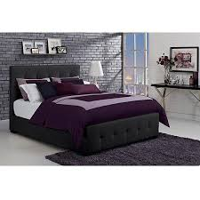 Florence Queen Tufted Faux Leather Upholstered Bed with Headboard