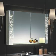 Fab Glass And Mirror Luxury Bathroom LED Mirror Cabinet With 2 Adjustable Shelves And Double Sided Mirror Door