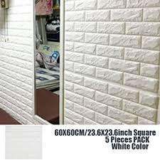 3D Wall Panels Stickers White Brick Self Adhesive Peel Stick Faux Foam Bricks Wallpaper 5