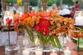 Orange Red And Rustic Flowers Wedding Centerpieces Philadelphia Weddings
