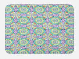 badematte plüsch badezimmer dekor matte mit rutschfester rückseite abakuhaus retro hippie ethnische mandala rainbow kaufen otto