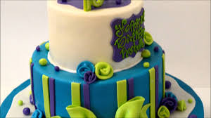 Birthday Cake design in blue and green