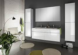 sam design badmöbel set 140 cm in weiß 4tlg designer badezimmer mit softclose funktion 1 doppel waschplatz 1 spiegelschrank 2 hochschränke