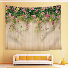 100 Fresh Home And Garden Decor Flowers And Butterfly On The Wood Tapestry
