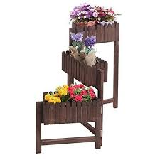 3 Tier Country Rustic Folding Wood Planter Box Flower Plant