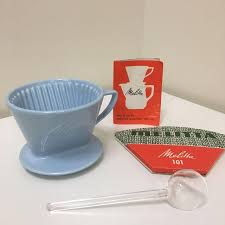 Vintage MELITTA MINT GREEN PORCEVINTAGE CERAMIC DRIP COFFEE MAKER 102 BASKET