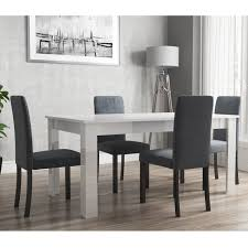 Extendable Dining Table In White High Gloss With 4 Slate Grey & Black  Chairs - Vivienne & New Haven Aldridge High Gloss Ding Table White With Black Glass Top 4 Chairs Rowley Black Ding Set And Byvstan Leifarne Dark Brown White Fnitureboxuk Giovani Blackwhite Set Lorenzo Chairs Seats Cosco 5piece Foldinhalf Folding Card Garden Fniture Set Quatro Table Parasol Black Steel Frame Greywhite Striped Cushions Abingdon Stoway Fads Hera 140cm In Give Your Ding Room A New Look Rhonda With Inspire Greywhite Kids Chair