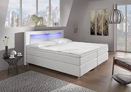 wohnen luxus boxspringbett 180x200 weiß mit led beleuchtung und chromleisten hotelbett doppelbett polsterbett ehebett amerikanisches bett chrom modell