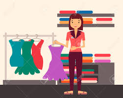 Girl Holding A Dress In Clothing Store Vector