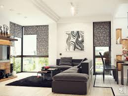 glass coffee table black leather sectional sofa grey walls living