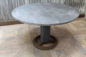 ZINC TOP ROUND TABLE INDUSTRIAL STYLE DINING In Zinc Top Round Dining Table Designs 14