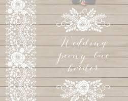 Vector Wedding Peony Lace Border Invitation Clipart White