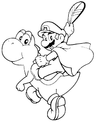Play Tennis Baby Yoshi Coloring Pages