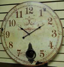 Large 23 Wall Clock With Pendulum Antique French Provincial Style