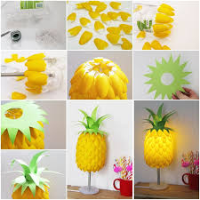 VIEW IN GALLERY Pineapple Lamp From Plastic Spoons Simple DIY Lampshade Made