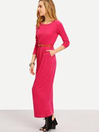 long sleeve pockets maxi dress shein sheinside