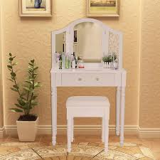 Ebay Dresser With Mirror by Songmics White 3 Foldable Mirrors Dressing Table Set With Stool