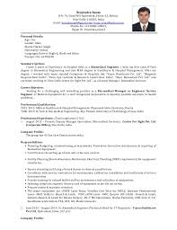 Biomedical Engineer Sample Resume Interesting Biochemical