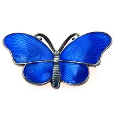 Ivar T Holth Norwegian Blue Enamel Sterling Butterfly Pin Vintage 1930s To 1980s