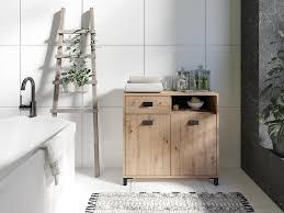 homexperts badezimmerschrank wanda breite 80 5 cm mit 1 offenem regalfach 1 schubkasten und 2 türen in eichen optik griff schwarz