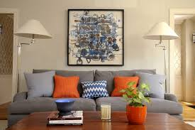 Ideas For Artwork Living Room Transitional With Orange Blue And Gray Color Palette French Glass Light Stenciled Walls