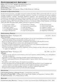 Government Affairs Resume Sample