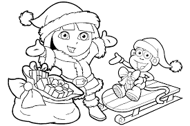 Dora Christmas Coloring Pages To Print