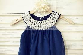 boho beach pearl beaded neck navy blue chiffon flower girl dress