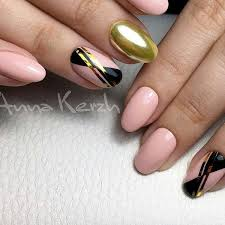 Gold Nails Designs with White Black Gold and Other Colors
