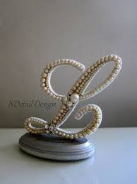 Wedding Cake Topper Monogram Vintage Pearl Letter By NDetailDesign 10599