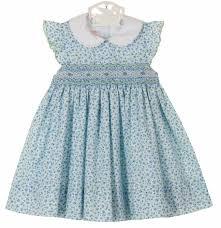 anavini blue flowered smocked dress with angel sleeves petit bebe