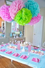 Birthday Party Table Decoration Ideas Photo Pic Image On Soft Blue Cloth Normal White