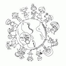 Happy Kids On Earth Day Coloring Page For Pages Printables Sheets Printable Color Sheet Adult