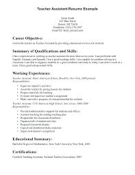 Resume Objective For Teachers Teacher Assistant We Provide As Reference